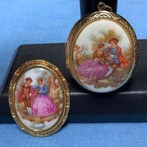 Vintage brooch and a pendant Limoges fragonard